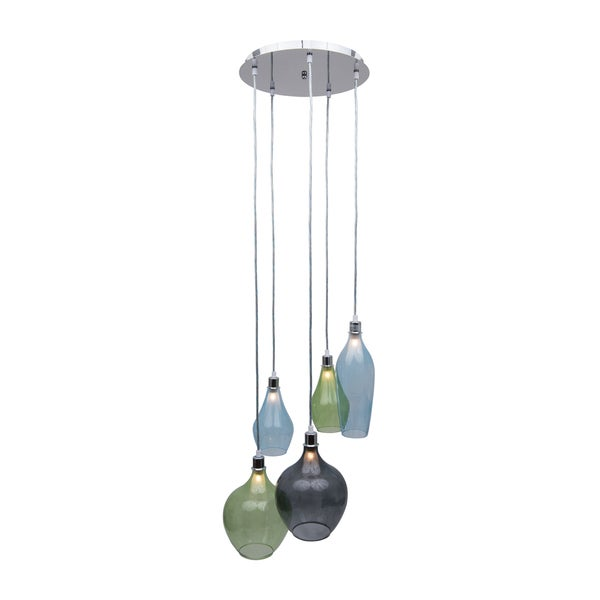 Bareat Chrome Metal and Glass 5-light Pendant - Multi-color