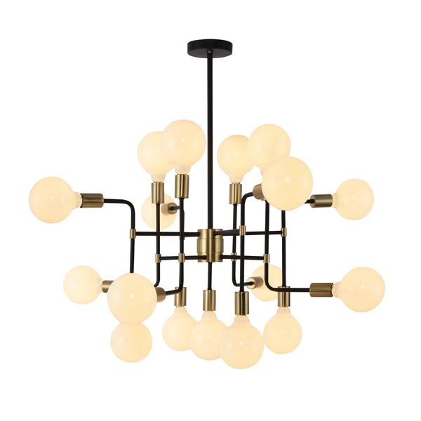 Yosemite Home Decor Every Which Way Industrial Finished Metal and Stainless Steel 60-watt 17-light Globe Chandelier