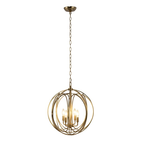 Yosemite Home Decor Satin Brass Metal/Stainless Steel Globe 4-light Chandelier