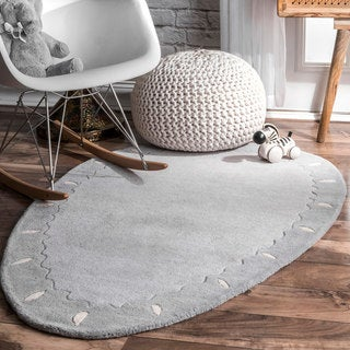nuLOOM Grey Handmade Playtime Kids Eggerrific Wool Area Rug
