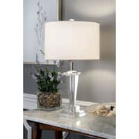 "Watch Hill 22"" Daphne Crystal & Iron Linen Shade Chrome Table Lamp"