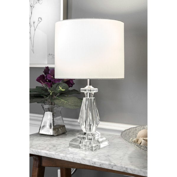 "Watch Hill 17"" Pamela Crystal & Iron Linen Shade Chrome Table Lamp"