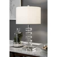 "Watch Hill 22"" Quinta Crystal & Iron Linen Shade Chrome Table Lamp"