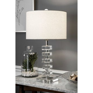 """Watch Hill 22"""" Quinta Crystal & Iron Linen Shade Chrome Table Lamp"""
