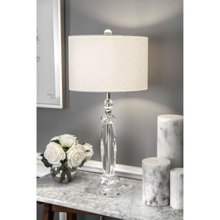 """Watch Hill 26"""" Zaria Crystal & Iron Linen Shade Chrome Table Lamp"""