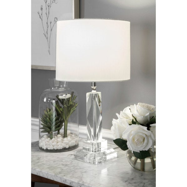 "Watch Hill 18"" Regina Crystal & Iron Linen Shade Chrome Table Lamp"