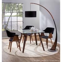 Lucci Mid-Century Modern Dining/Accent Chair in Walnut and Velvet