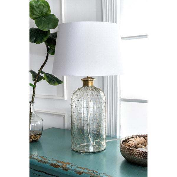 "Watch Hill 31"" Emily Glass Cotton Shade Clear Table Lamp"