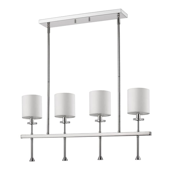 Acclaim Lighting Kara Indoor 4-Light Polished Nickel Pendant With Shades and Crystal Bobeches
