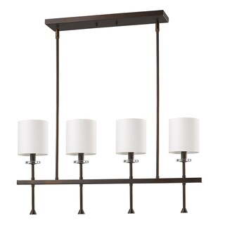 Acclaim Lighting Kara Oil Rubbed Bronze Steel 4-light Pendant with White Fabric Shades and Crystal Bobeches