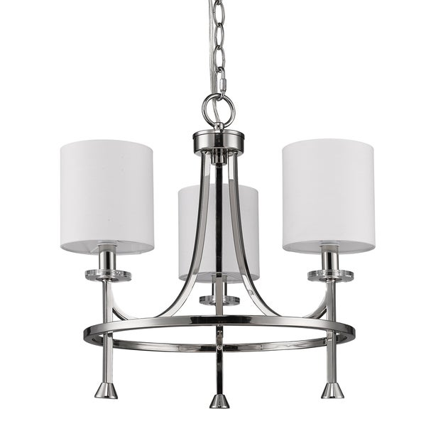 Acclaim Lighting Kara Indoor 3-Light Polished Nickel Chandelier With Shades and Crystal Bobeches
