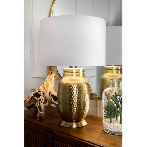 """nuLOOM 23"""" Madison Hammered Iron Cotton Shade Brass Table Lamp"""
