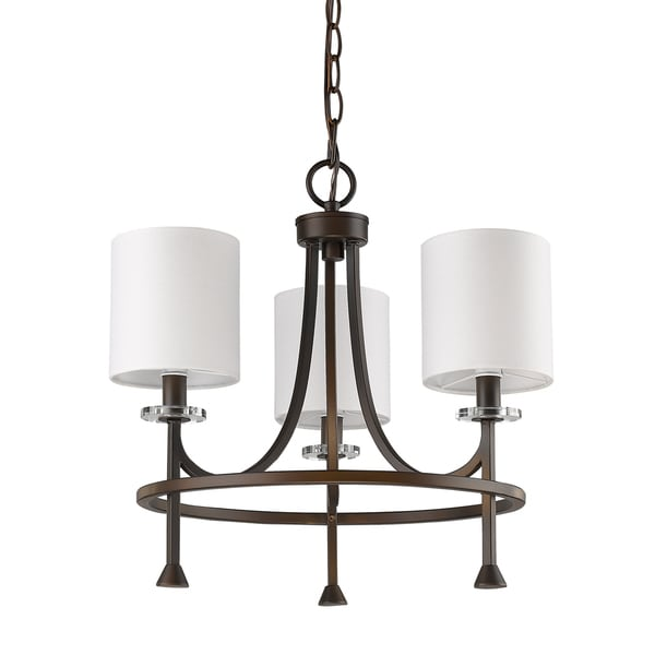Acclaim Lighting Kara Indoor 3-Light Oil-Rubbed Bronze Chandelier With Shades and Crystal Bobeches