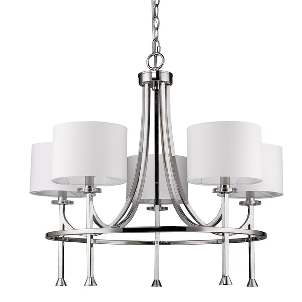 Acclaim Lighting Kara Indoor 5-Light Polished Nickel Chandelier With Shades and Crystal Bobeches - Silver