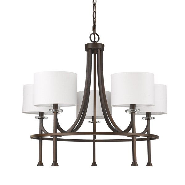 Acclaim Lighting Kara Indoor 5-Light Oil-Rubbed Bronze Chandelier With Shades and Crystal Bobeches