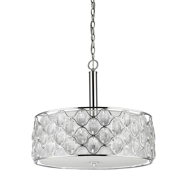 Acclaim Lighting Isabella Polished-nickel-finished Steel 60-watt 4-light LED Indoor Drum Pendant Light With Crystal Strands
