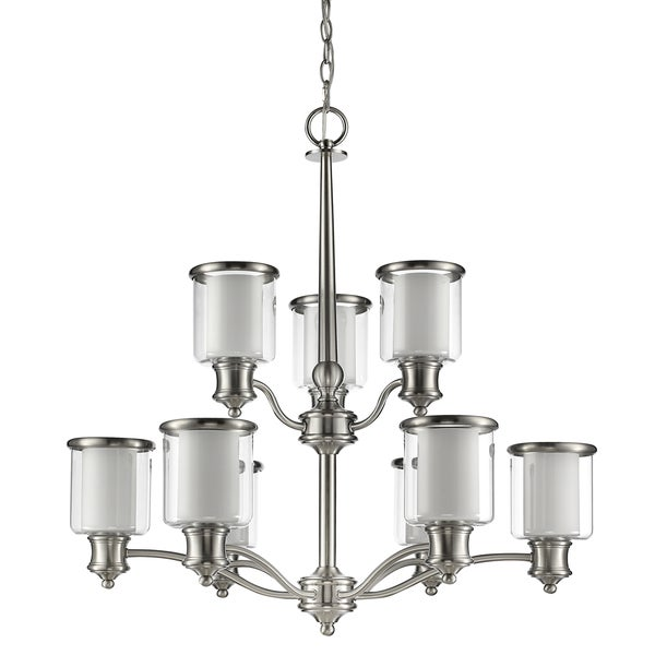 Acclaim Lighting Giuliana Indoor 9-Light Satin Nickel Chandelier with Glass Shades