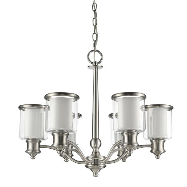 Acclaim Lighting Giuliana Indoor 6-Light Satin Nickel Chandelier with Glass Shades - Silver