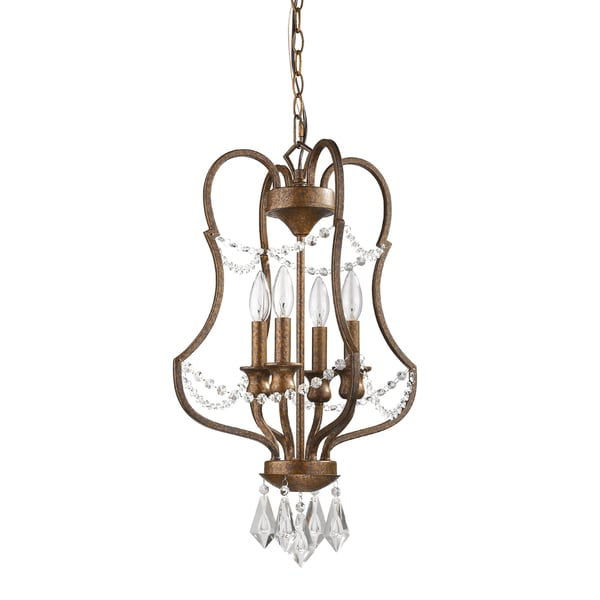 Acclaim Lighting Gianna IN11036 Russet Steel 60-watt 4-light LED Indoor Single-tier Chandelier With Drop Crystals and Chain
