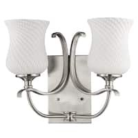Acclaim Lighting Evelyn Indoor 2-Light Bath With Glass Shades In Satin Nickel