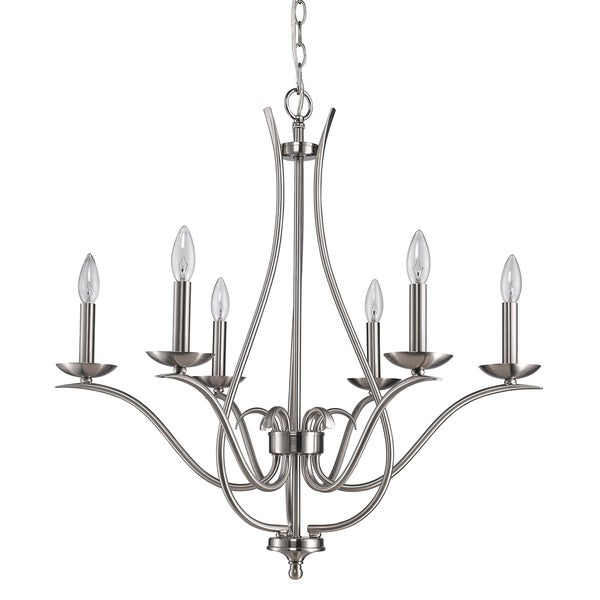 Acclaim Lighting Genevieve Satin Nickel Steel Indoor 6-light Chandelier
