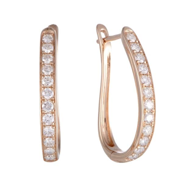 1ab237f02 Shop ~1ct Rose Gold Diamond Oval Hoop Earrings - On Sale - Free ...