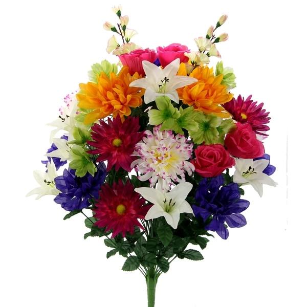 40 Stems Faux Lily Zinnia Football Mum Mixed Flower Bush