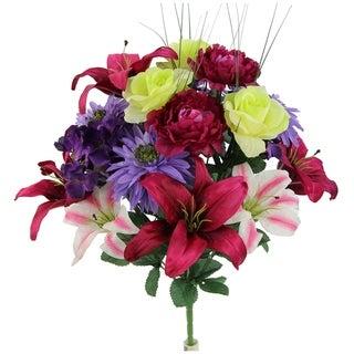 18 stems Faux Lily Peony Hydrangea & Small Lily Mixed Flower Bush