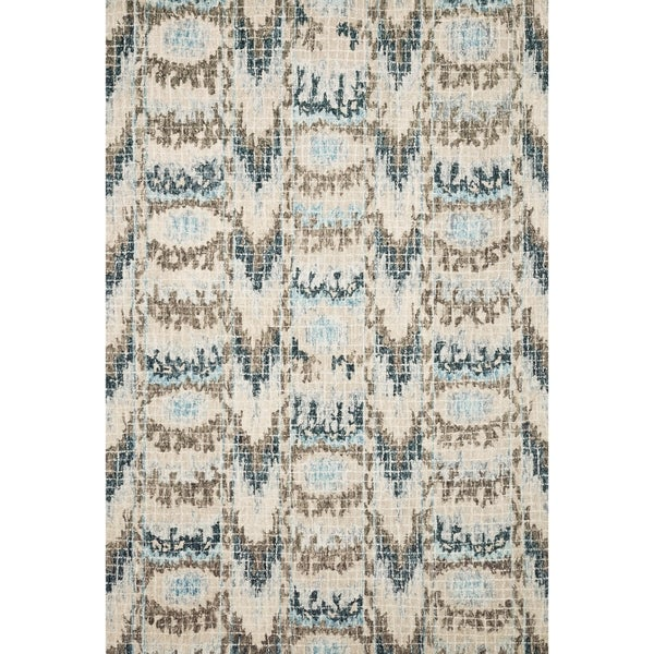 Shop Hand-hooked Ikat Turquoise/ Taupe Mosaic Wool Area