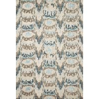Hand-hooked Ikat Turquoise/ Taupe Mosaic Wool Area Rug - 9'3 x 13'