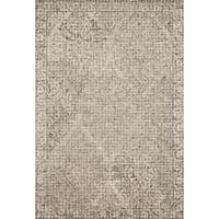 Hand-hooked Transitional Grey/ Taupe Damask Wool Area Rug - 9'3 x 13'