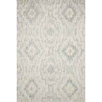 Hand-hooked Ikat Grey/ Blue Mosaic Wool Area Rug - 9'3 x 13'