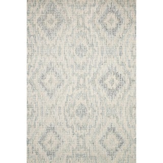 Alexander Home Grey and Blue Geometric Ikat Hand-hooked Transitional Rug (9'3 x 13')