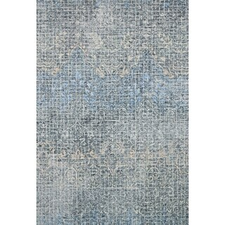Hand-hooked Transitional Indigo/ Navy Mosaic Abstract Wool Area Rug - 9'3 x 13'
