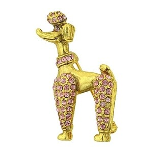 1928 Jewelry Gold Tone Poodle Pin with Pink Swarovski Elements Crystals
