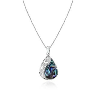 Glitzy Rocks Filigree Teardrop Abalone or Simulated Turquoise Pendant Necklace in Sterling Silver