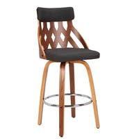 "York Mid-Century Modern 26"" Counter Stool in Walnut and Fabric"