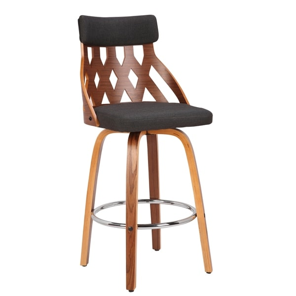 "York Mid-Century Modern 26"" Counter Stool in Walnut and Fabric. Opens flyout."