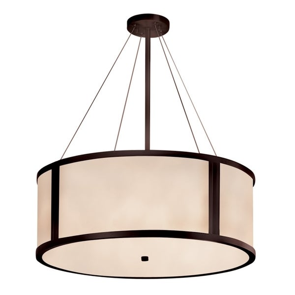 Justice Design Group Clouds Tribeca Dark Bronze Finish Metal 36-inch Drum Pendant With Off-white Resin Shade