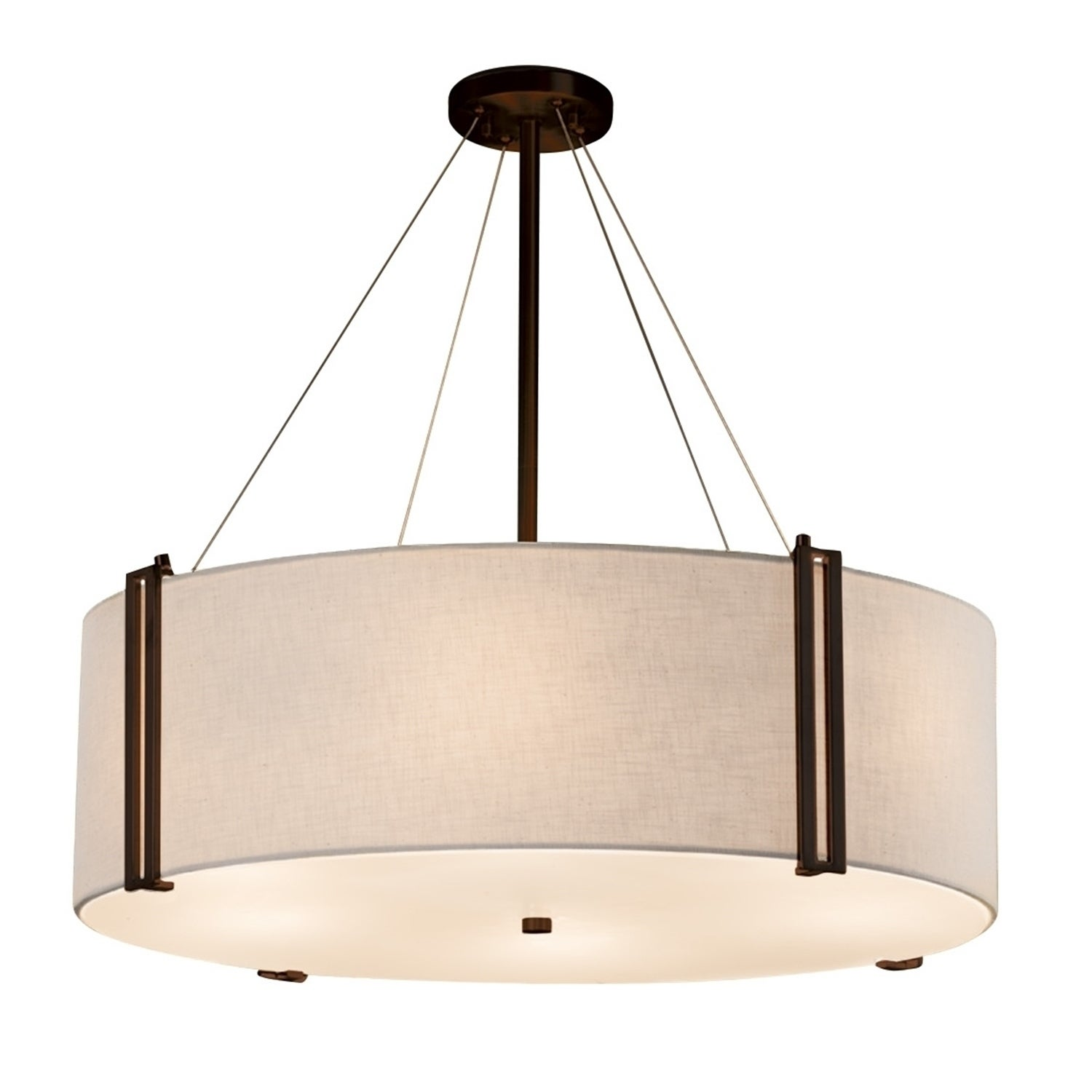 Image of: Shop Black Friday Deals On Justice Design Group Textile Reveal 36 Inch Dark Bronze Drum Pendant White Shade Overstock 19562598