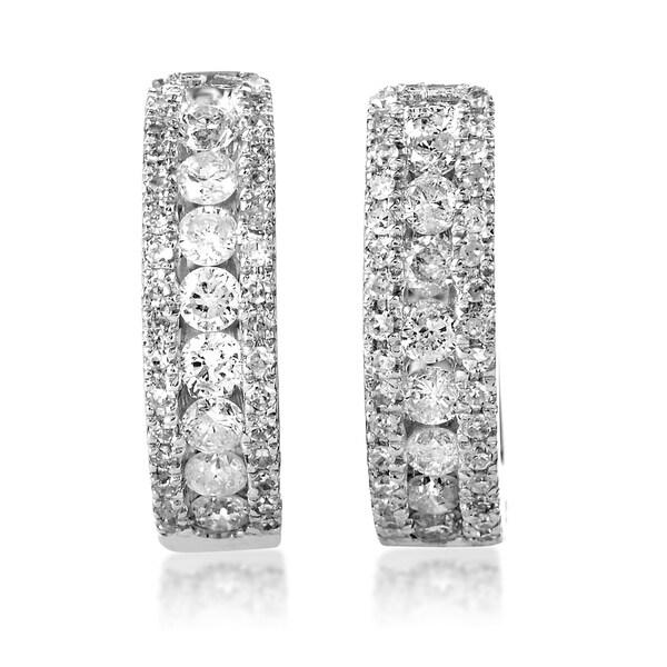 Women X27 S White Gold Diamond Hoop Earrings