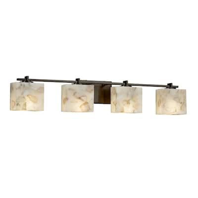 Justice Design Alabaster Rocks Era 4-light Dark Bronze Bath Light, Off-white Rectangle Shade