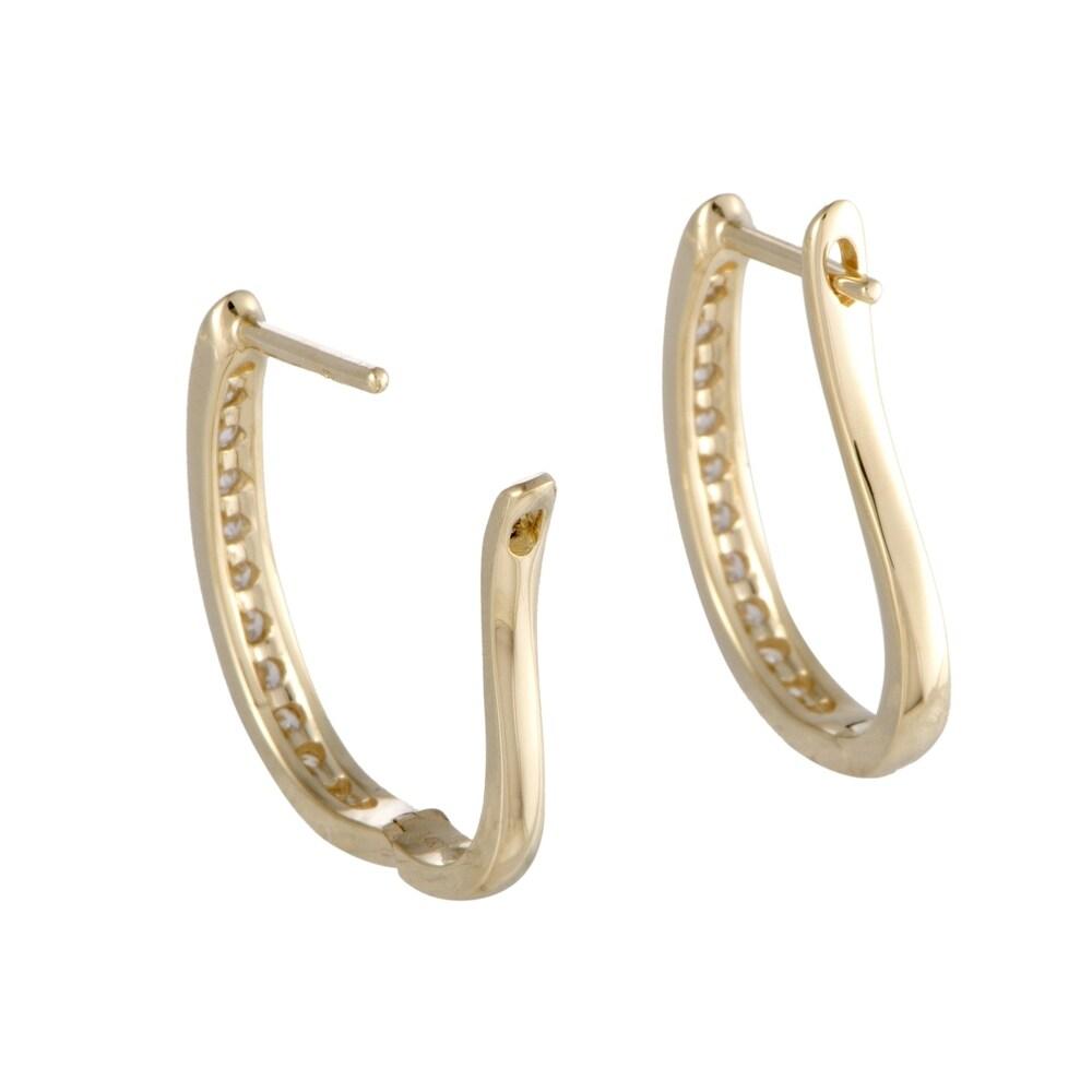 Shop ~.75ct Yellow Gold Diamond Oval Hoop Earrings - 19562643