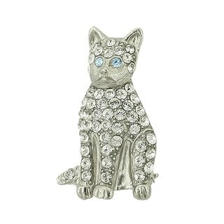 1928 Jewelry Silver Tone Swarovski Crystal Cat Pin