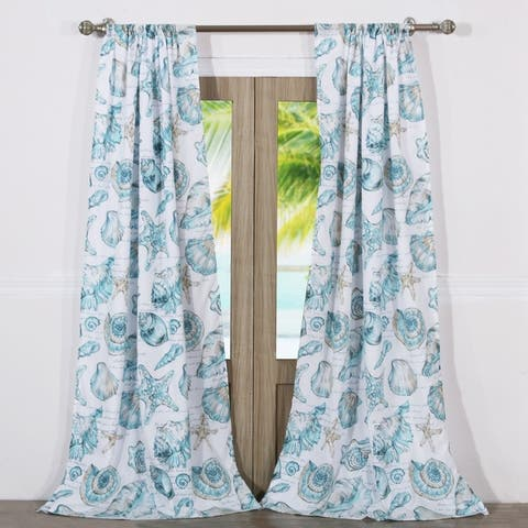Barefoot Bungalow Cruz Coastal Curtain Panel Set (Set of Two Panels) - 84 W x 84 L (inches) - 84 W x 84 L (inches)
