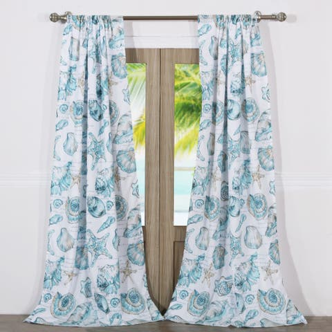 Barefoot Bungalow Cruz Coastal Curtain Panel Set (Set of Two Panels) - 84 W x 84 L (inches)
