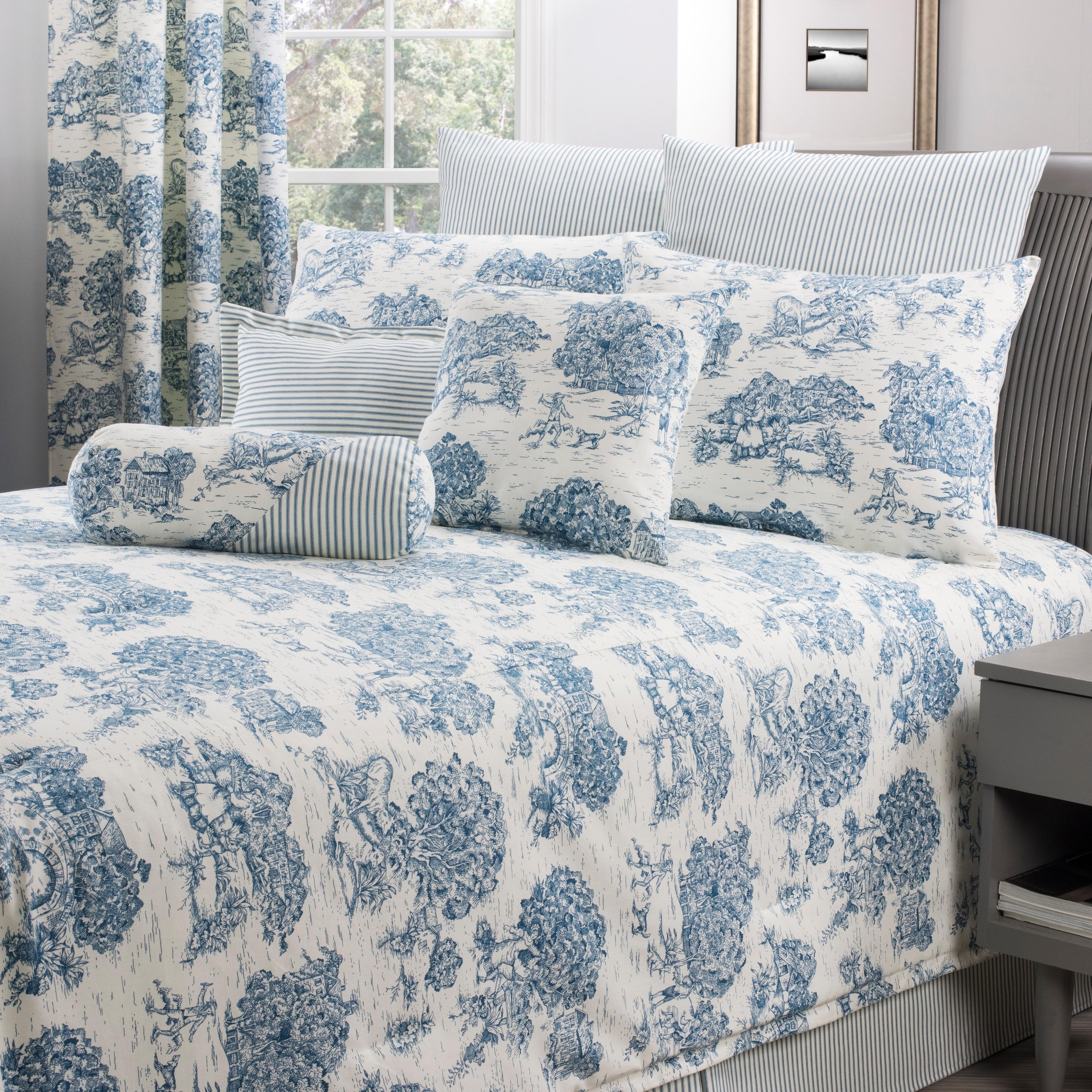 Shop Calais Blue Toile Comforter Set Size King Overstock 19562765