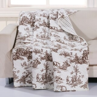 Classic Toile Taupe Quilted Cotton Throw