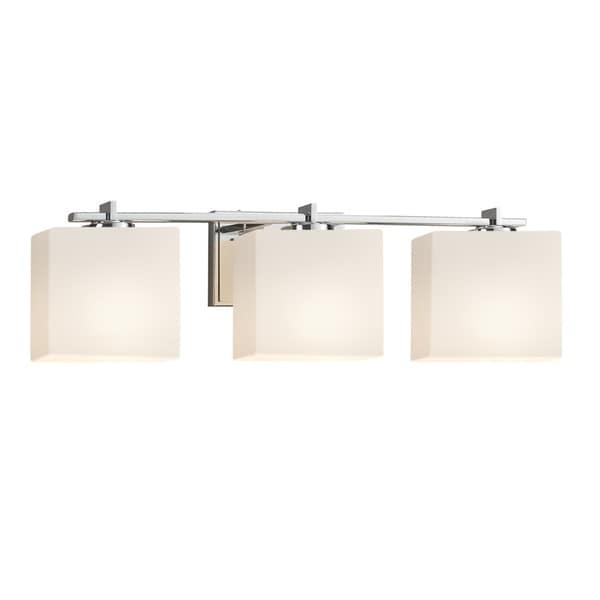 Justice Design Group Fusion Era 3 Light Polished Chrome Bath Light, Opal  Rectangle Shade