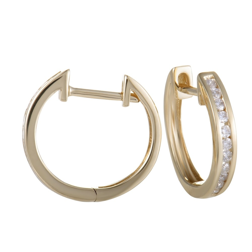 Shop ~.25ct Small Yellow Gold Diamond Hoop Earrings - Overstock - 19562908